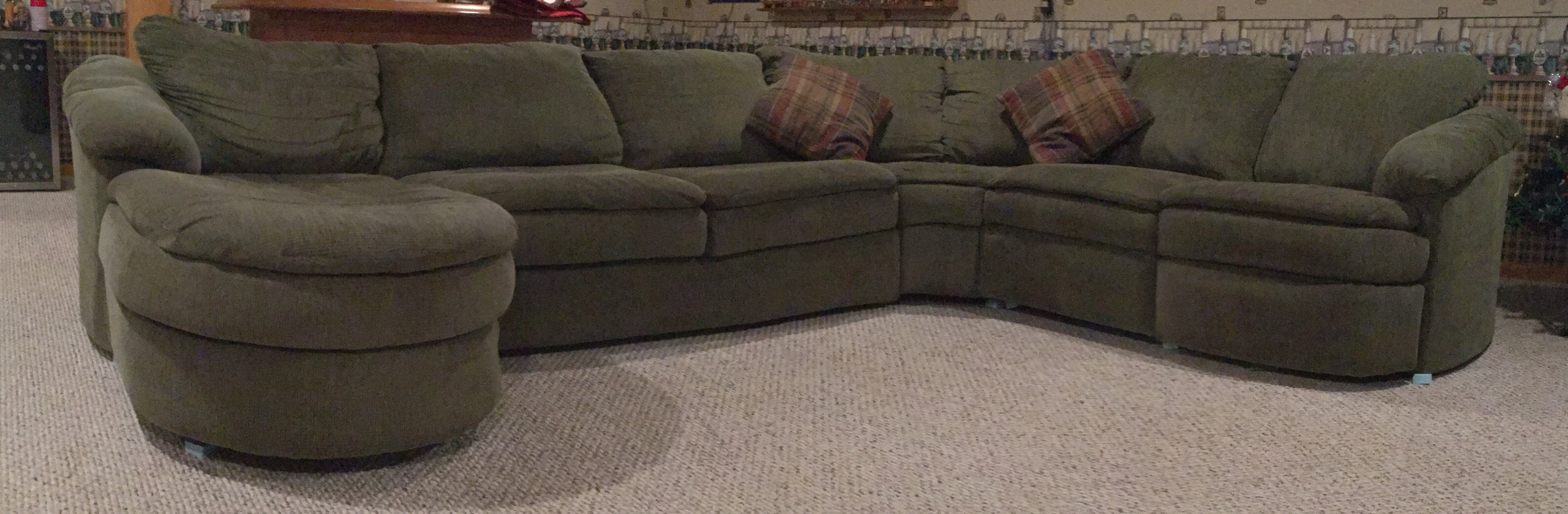 Large Sectional Sofa Cleaned and deodorized in the Fox Valley area